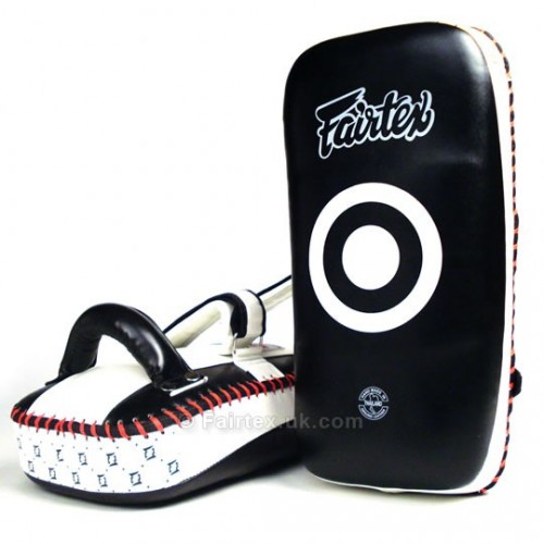 Fairtex Standard Curved Kick Thai Pads - Black/White